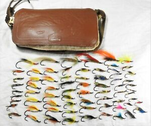 Vintage Salmon Flies and Vintage Leather Fly Pouch