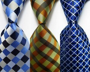 3 pcs New Classic Checks JACQUARD WOVEN 100% Silk Men's Tie Necktie