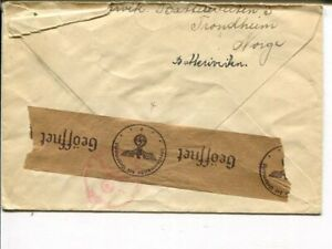 Norway censor cover to Sweden, Trondheim 26.11.1940