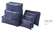 Set of 6 Navy Waterproof Packing Cubes, Travel Pouch, Luggage Organiser, Storage