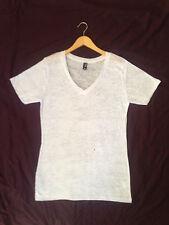 New men's t-shirt short sleeve white burnout v-neck cotton blend S,M, L, XL, 2XL