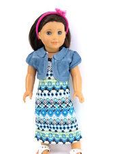 "Blue Denim Jacket & Maxi Dress For 18"" American Girl Doll Clothes 2 Piece Set"
