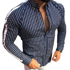 Herren Sommer Langarm Shirt Slim Fit Gestreift Freizeit Bluse Top Kragen Hemd