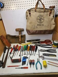 Lot Klein Canvas Tool bag W/Electrician tools Pliers, Screwdrivers,Sledge Hammer