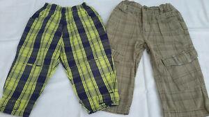 Baby Junge Gr.: 86 --> 2 karierte Stoffhosen beige-grün-blau lange Hose
