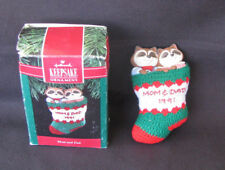 Hallmark 1991 Ornament Mom and Dad Raccoon in Knitted Stocking