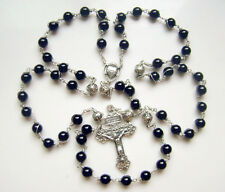 *Rare Sterling Silver Rosary Cross Crucifix black AGATE beads Catholic Necklace