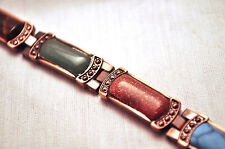 LADIES 7.5 IN COPPER & SOUTHWESTERN STONES MAGNETIC THERAPY LINK BRACELET 4 Pain