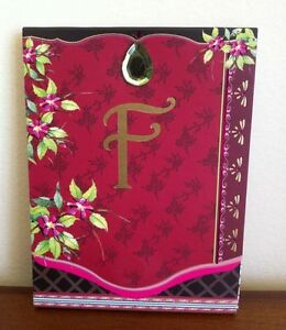 New Notepad Letter F with Flowers and Bird Inside Small with Magnetic Close
