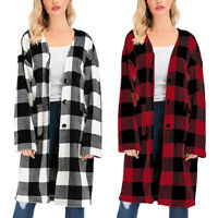 Womens Plaid Long Sleeve Cardigan Trench Coat Loose Casual Long Jackets Overcoat