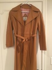 Vintage 70s Surrey Classics of Canada Womens Carmel Leather Long Coat Small