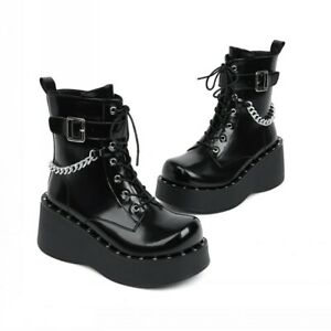 Ladies Gothic Punk Lolita Creepers Heel Shoes Pu Leather Steampunk Ankle Boots L