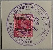 GEIC 1911 EVII 1d Red SG 2 On Piece VFU Early Vernon Ty 1 Scarce From My Coln