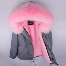 Christmas Gift-Women Large Real Fox Fur Collar Hood Short Coat Warm Jacket Parka