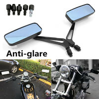 2pc Motorcycle Rectangle Rearview Mirrors + Mounts Black For Honda Yamaha Suzuki