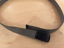 """webbing  belt, us made, 100% cotton od/olive, belt black buckle  44"""" and down."""