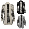 Womens Ladies Owl Print Knitted Long Sleeve Jumper Open Cardigan Plus Size 8-26