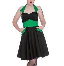 Verde Vestido Negro Algodón Vampiro Horror Halloween Bat Bolsillos Cuello