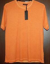 Z Zegna AUTHENTIC Men's Orange Dots Cotton T-Shirt Shirt Sz L $275