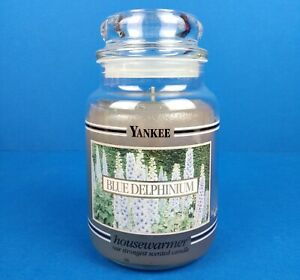 Yankee Candle Housewarmer VERY RARE, RETIRED, BLACK BAND, BLUE DELPHINIUM 22 Oz.