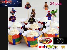 24 LEGO AVENGERS CUPCAKE TOPPERS / PARTY SUPPLIES/ BIRTHDAY KIDS SUPERHERO NEW
