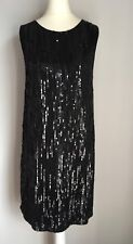 """All Saints Black Heavily Sequinned Ladies """"Lucia"""" Dress BNWT Size 8"""