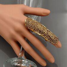 New Gold Plated GP Topaz Crystal Rhinestone Adjustable Fashion Custom ring 00303