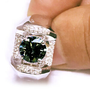 3.36+Ct Vvs1>NATURAL WHITE BROWN BLUE MOISSANITE DIAMOND 925 SILVER MEN'S RING