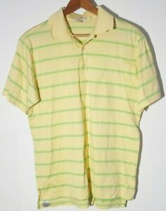 Peter Millar Men's Yellow/Green Stripe Medium Golf Polo Shirt