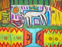 Sneak Thief Dog Folk Art Print 8x10 Artist Kimberly Helgeson Sams Vintage Style