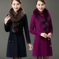 Winter Womens Faux Fur Collar Cashmere Wool Trench Coats Long Jackets Overcoat