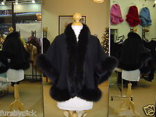 Black Cashmere Cape With Fox Fur Trim Beautifully Canadian Label