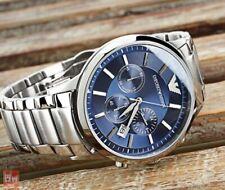 ••• Emporio Armani Herren Armbanduhr  AR2448 Renato Silber Blau Chrono Neu •••