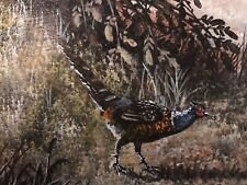 Original  Painting Signed  Pheasant with Foliage  Ornate Gold Frame