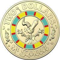 2019 60th Anniversary of Mr Squiggle $2 coloured Coin - Mr Squiggle (UNC).Rare