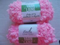 Needle Crafters Fluffy Fancy  yarn, Baby Pink, lot of 2 (65 yds ea)