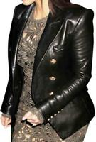 Women Black Double Breasted Real Leather Jacket Blazer