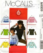 McCall's M4909 Girl's Pullover TOP in 6 Styles Size 7-8-10-12 Uncut