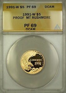 1991-W Proof Mount Rushmore Commemorative $5 Gold Coin ANACS PF-69 DCAM