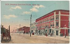 Broadway South From 7th Avenue in Gary IN Postcard 1911