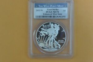 2013 W American Silver Eagle PCGS MS70 Enhanced - Spotted