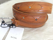 "Authentic PAUL SMITH Men's Belt: Leather Marquetry 30"" New w/Tags ($250 USD)"