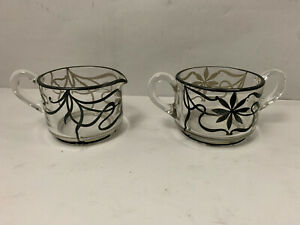 Vintage Clear Glass Silver Overlay Floral Open Antique Sugar Creamer Set