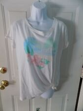 HOLLISTER White Short Sleeve Shirt W/Heart Design Size M Women's NEW HTF
