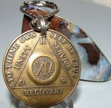 Alcoholics Anonymous AA 14 Year Bronze  Medallion Keychain Token coin chip Sober