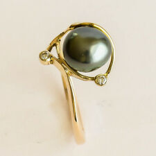Natural Tahitian Keshi Pearl Ring Genuine Diamonds 9k 375 Gold Size N1/2