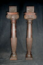 Pr. Antique Carved Mahogany Columns Furniture Fragments Old Finish