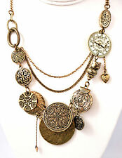 """Multi Layer Gold Toned Coins Clocks Hearts Textured Metal Necklace 16"""" - 19"""" Adj"""