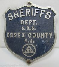 Orig CD Civil Defense Sherrifs Dept Essex County NJ Car Plate Topper Badge Sign