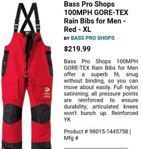 Bass Pro Shops 100 MPH Gore Tex GoreTex Rain Pants Men's 3XL NWOT Red